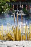 Chinese Joss Sticks offering. Stock Photo