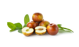 Chinese Jujubes Fruits On White Royalty Free Stock Photography