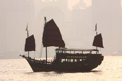 Chinese Junk. Sailing on the sea Stock Photo