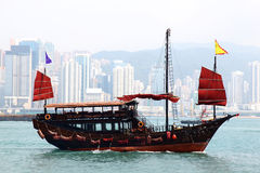 CHINESE JUNK. Sailing on the sea Royalty Free Stock Photography