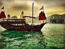 Chinese Junk boat. Captured this shot when I traveled to Hong Kong, such a bra place Royalty Free Stock Images