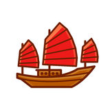 Chinese Junk Boat Icon Royalty Free Stock Photo