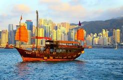Chinese junk in hong kong stock photo