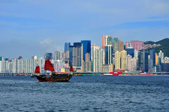 Chinese junk at hong kong sea. Chinese junk cruising through hong kong sea Royalty Free Stock Photography