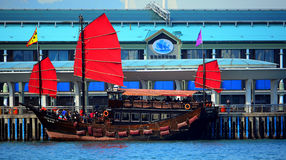 Chinese junk in hong kong. Tourists on the traditional chinese junk at the central pier, hong kong Stock Photography