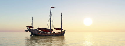 Chinese junk ship at anchor. Computer generated 3D illustration with a Chinese junk ship at anchor at sunset Stock Images