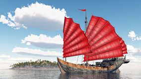Chinese junk ship Stock Images