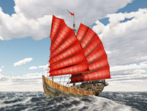 Chinese junk ship. Computer generated 3D illustration with a Chinese junk ship in the stormy ocean Stock Photography