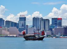 A Chinese junk ship in front of the Hong Kong skyline. HONG KONG - A Chinese junk ship passes in the Hong Kong harbor in front of the modern Kowloon skyline Royalty Free Stock Photo