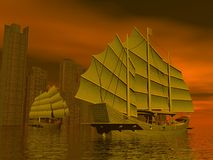 Chinese junk ships - 3D render Stock Photography