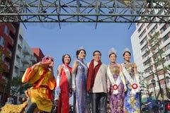 Chinese kamervoorzitter met koningin en prinses Stock Foto