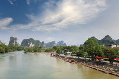 Chinese karst mountain landscape in yangshuo Royalty Free Stock Photos