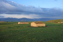 Chinese Kazakh herdsman  mud house Royalty Free Stock Image
