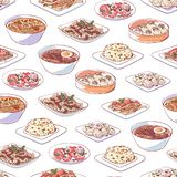 Chinese keukenschotels op witte achtergrond stock afbeelding
