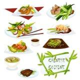 Chinese keukenschotels voor het ontwerp van het restaurantmenu vector illustratie