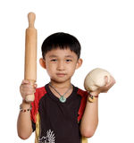 Chinese kid with dough Royalty Free Stock Photography