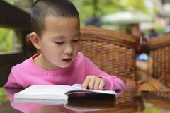 Kid reading outdoor Stock Photos
