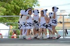 Chinese Kids Dance at Summer Fair royalty free stock photos