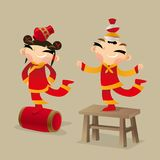 Chinese kids perform acrobatic show. Vector illustration of two Chinese kids perform acrobatic show Royalty Free Stock Photos