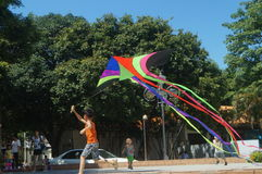 Chinese kids are playing a kite Stock Photo