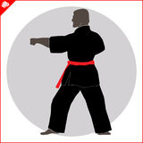 Chinese kinderen KONGFU Het silhouetscène van de karatevechter Stock Fotografie