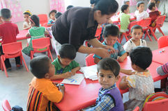 Chinese kindergarden class children Stock Photo