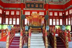 Chinese king's throne at Confucius Temple, Beijing Stock Photography