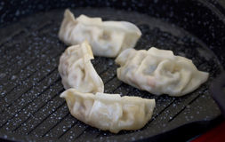 Chinese kitchen, homemade pan fried Dumplings Stock Images