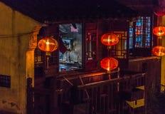 Chinese kitchen between lanterns royalty free stock photos