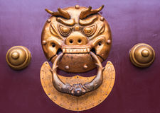Chinese knocker on a gate. A chinese golden colored face door knocker on a gate Stock Image