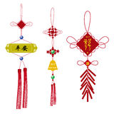 Chinese knot for New Year. Set of red Chinese knot for New Year, 2012 Dragon Year Royalty Free Stock Image