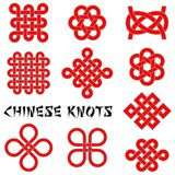 Chinese knots. A collection of Chinese knots on white backgound Royalty Free Stock Image