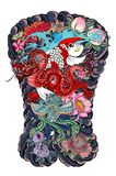 Koi carp with red dragon and peacock tattoo design.peach with peony and plum flower on cloud background.Traditional Japanese tatto. Chinese Koi carp with red vector illustration
