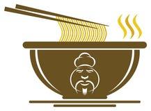 Chinese Kom met het Teken van de Chef-kok Royalty-vrije Stock Foto's