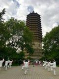 Chinese Kongfu Taiji and ancient tower Royalty Free Stock Photography