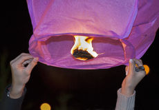 Chinese kongmin light lantern launch Stock Photos