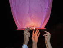 Chinese kongmin light lantern launch Royalty Free Stock Photos