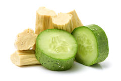 Chinese or korean Yuba (tofu bamboo). And Green cucumber on white background Stock Image