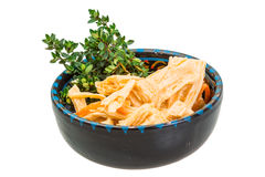 Chinese or korean Yuba (tofu bamboo). On white background Stock Image