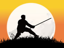 Chinese Kung-Fu. The man Practicing Kung-Fu on the full moon background Stock Photos