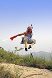 Chinese Kung Fu. The true China Shaolin kung fu.Leapt into the fight Royalty Free Stock Photos