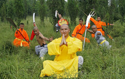 Chinese Kung Fu. Shaolin monks who performs the Chinese KungFu on the mountain Royalty Free Stock Photography