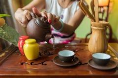 Chinese kung fu tea preparation. Take in Mianyang,China royalty free stock photo