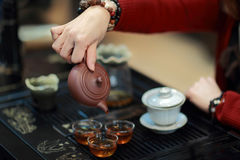 Chinese Kung Fu Tea. In the tea room royalty free stock photography