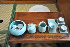 Chinese Kung Fu Tea Set. Five cups of tea and a ceramic pot stock image