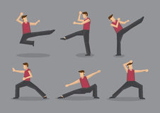 Chinese Kungfu Vector Character Illustration. Set of six vector cartoon character demonstrating Chinese style martial arts moves isolated on plain grey Royalty Free Stock Photos