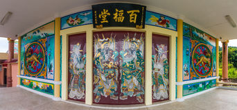 Chinese kunst bij deur van Chinese tempel Stock Fotografie
