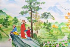 Chinese kunst op de muren royalty-vrije stock afbeelding