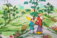 Chinese kunst op de muren stock foto
