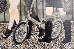 Lacquer painting women and bike, adobe rgb. Chinese lacquer painting is a painting based on natural lacquer. It is both art, but also practical decorations. some royalty free stock images